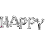 """Happy"" Phrase Silver SuperShape Foil Balloons 30""/76cm w x 10""/25cm h S55 - 5 PC"