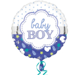 Baby Boy Scallop Standard Foil Balloons S40 - 5 PC