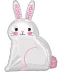 """White Satin Bunny Junior Shape XL Foil Balloons 16""""/40cm x 22""""/55cm S50 - 5 PC"""