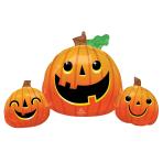 """Smiley Pumpkins SuperShape Foil Balloons 35""""/88cm w x 22""""/55cm h P35 - 5 PC"""