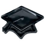 Serving Plastic Black Graduation Cap Tray 26cm - 12 PKG
