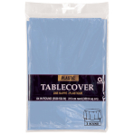Pastel Blue Round Plastic Tablecovers 2.13m - 12 PC