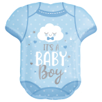 """Baby Boy Onesie SuperShape Foil  Balloons 22""""/55cm w x 24""""/60cm h P35 - 5 PC"""
