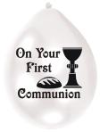 First Communion Latex Balloons - 22.8cm 6 PKG/10
