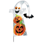 Pumpkins & Ghosts Feather Flag Garden Stake fabric w/Plastic Stake - 6 PKG