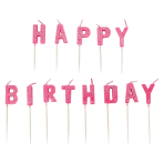 Pink Happy Birthday Pick Glitter Candles - 6 PKG/13