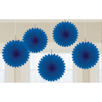 Bright Royal Blue Mini Paper Fans 15cm - 6 PKG/5