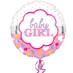 Baby Girl Scallop Standard Foil Balloon S40 - 5 PC