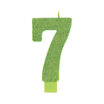Giant Size Numeral Kiwi Green Glitter Candles 13.3cm #7 - 12 PC