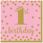 1st Birthday Girl Gold Luncheon Napkins 33cm - 12 PKG/16