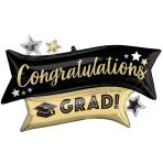 """Congratulations Grad Gold & Black SuperShape Foil Balloons 38""""/96cm w x 23""""/58cm h P35 - 5 PC"""