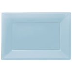 Powder Blue Plastic Serving Platters - 6 PKG/3