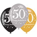 """Gold Sparkling Celebration 50th Latex Balloons 21""""/27cm - 6 PKG/6"""