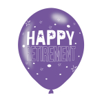 "Happy Retirement Assorted Colours Latex Balloons 11""/27.5cm - 10 PKG/6"