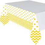 Sunshine Yellow Chevron Plastic Tablecovers 1.37m x 2.6m - 6 PC
