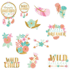 Boho Birthday Girl Cut-Outs - 12 PKG/12