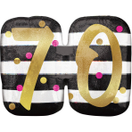 """Pink & Gold 70th Birthday Holographic SuperShape Foil Balloons 25""""/63cm x 20""""/50cm P40 - 5 PC"""