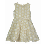 Belle Cream Floral Dress with Gold Shimmer - Age 5-6 Years - 1 PC