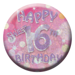 Happy 16th Birthday Badges Small 55mm Holographic - 12 PKG
