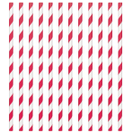 Apple Red Paper Straws 19cm - 12 PKG/24