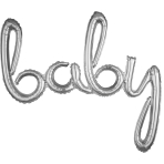 """Baby"" Script Phrase Silver Foil Balloons 39""/99cm x 33""/83cm G40- 5 PC"