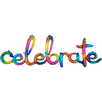 """Celebrate"" Rainbow Splash Script Phrase Foil Balloons 59""/149cm w x 20""/50cm h G50 - 5 PC"