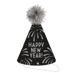 Silver Glitter Cone Hats with Tinsel Pom Poms 23cm - 12 PC