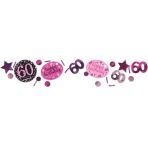 Pink Sparkling Celebration 60th 3 Pack Value Confetti 34g - 12 PC