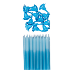 Blue Graduated Colour Candles with Holders - 6 PKG/24