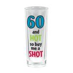 60th Tall Shot Glasses 80ml - 12 PC
