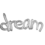 """Dream"" Freestyle Silver Phrase Balloons 37""/93cm w x 18""/45cm h G40 - 5 PC"