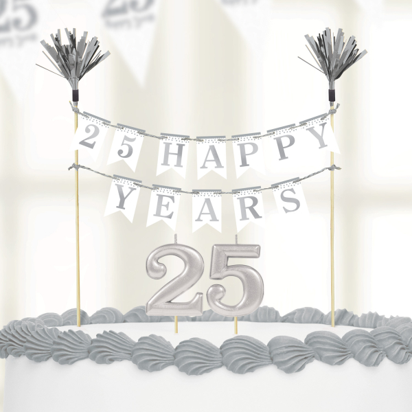 Sparkling Silver 25th Anniversary Cake Decoration Kit Candles 13051743994 Ebay