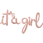 """It's A Girl"" Rose Gold Script Phrase Foil Balloons G50 - 5 PC"