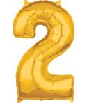"""Number 2 Gold SuperShape Mid-Size Foil Balloons 17""""/43cm w x 26""""/66cm h P31 - 5 PC"""
