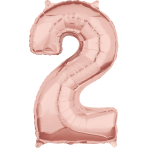 "Number 2 Rose Gold SuperShape Mid-Size Foil Balloons 17""/43cm w x 26""/66cm h P31 - 5 PC"