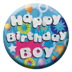 Happy Birthday boy Badges Small 55mm Holographic - 12 PKG