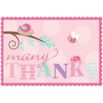 Tweet Baby Girl Thank You Cards with Sticker Seals - 6 PKG/8