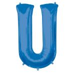 """Letter U Blue SuperShape Foil Balloons 34""""/""""86cm P50 - 5 PC"""