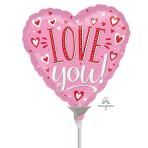 Love You White Mini Foil Balloons A15 - 5 PC
