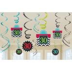 30th Celebrate Swirls Decorations Pack - 12 PKG/12