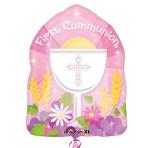 """1st Communion Pink JuniorShape 14""""/36cm w x 18""""/46cm h - S40 5 PC"""