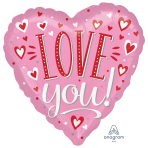 "Love You White Dots Jumbo HX Foil Balloons 28""/71cm w x 28""/71cm h P32 - 5 PC"