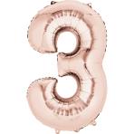 "Number 3 Rose Gold SuperShape Foil Balloons 21""/53cm w x 35""/88cm h P50 - 5 PC"