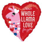 Whole Llama Love Standard HX Foil Balloons S40 - 5 PC