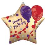 "Satin Birthday Multi Balloons 28""/71cm w x 28""/71cm h P60 - 5 PC"