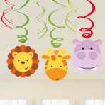 Jungle Friends Swirl Decorations - 6 PKG/6
