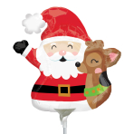 Santa & Reindeer Mini Shape Foil Balloons A30 - 5 PC