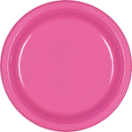 Bright Pink Plastic Plates 23cm - 10 PKG/10