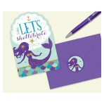 Mermaid Wishes Postcard Invitations with Stickers - 6 PKG/8