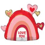"""Rainbow Love SuperShape XL Foil Balloons 26""""/66cm w x 23""""/58cm h P30 - 5 PC"""